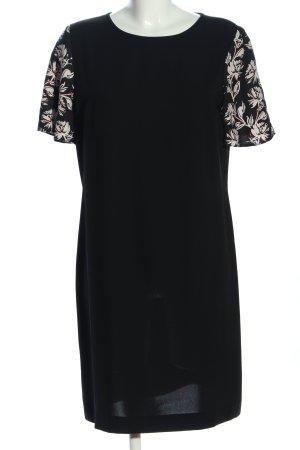Piú & Piú Blusenkleid schwarz-wollweiß Blumenmuster Business-Look