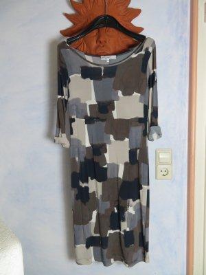 Piu & Piu Italy - Feinstrick Kleid - Gr. III/S - Grau Schwarz - Viskose - Graphic Longsleeve Dress - Herbst Fashion