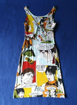 PIU & PIU Kleid Gr.1 S 34 36 mit Cartoon Muster Sommer Made in Italy Bunt
