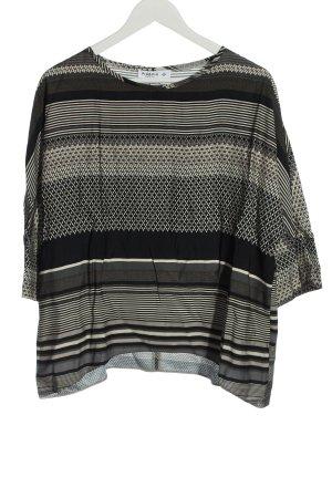 Piú & Piú Langarm-Bluse schwarz-weiß Allover-Druck Casual-Look