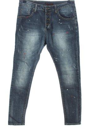 place du jour Skinny Jeans blau abstraktes Muster Casual-Look