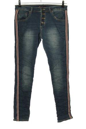 place du jour Stretch Jeans blau-rot Street-Fashion-Look