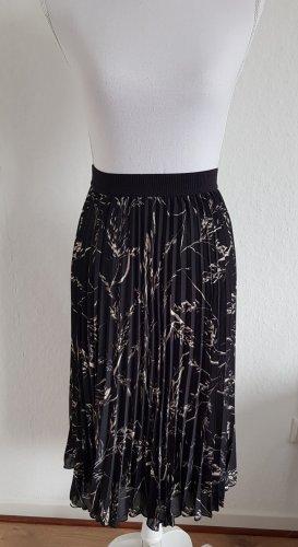 H&M Falda plisada blanco-negro