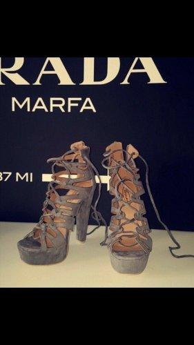 Sandalias de tacón con plataforma gris oscuro-gris