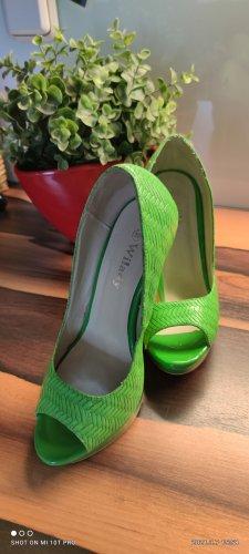 Wilady Buty na platformie zielona łąka-zielony neonowy