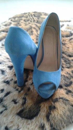 SDS Peep Toe Pumps neon blauw