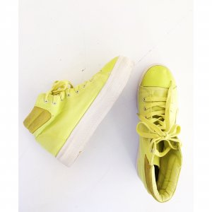 Plateau High Top Sneakers 40 41 weiße Sohle Neon grün gelb creeper Blogger Turnschuhe Sommer