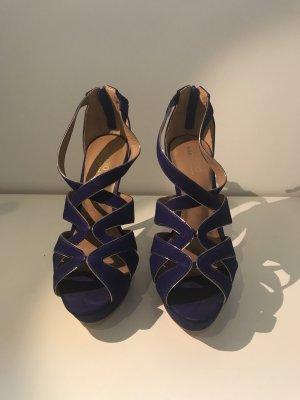 Sandalias con plataforma azul-color oro