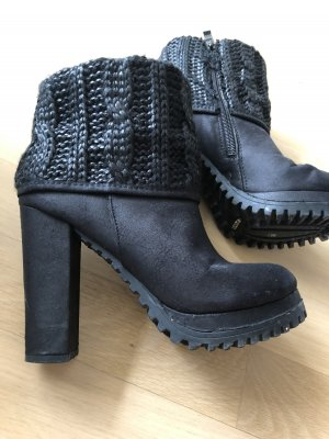 Plateau Leder Stiefel mit Strick schwarz