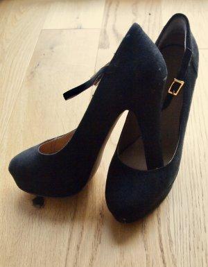 Plateau Pumps High Heels mit Riemchen Mary Janes Veloursleder schwarz