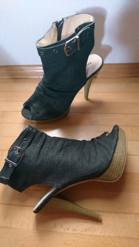 Plateau Pumps high heels peep toe Jeans