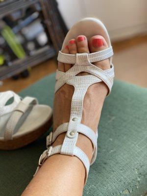 Graceland Plateauzool sandalen wit-zilver