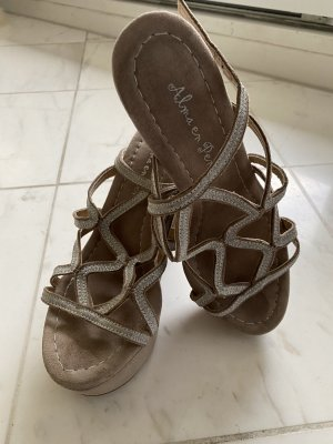 Alma en Pena Plateauzool sandalen beige-zilver
