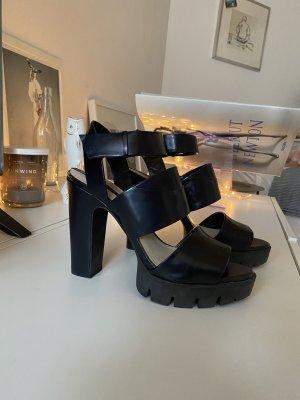 Zara Woman Plateauzool sandalen donkerblauw-zwart