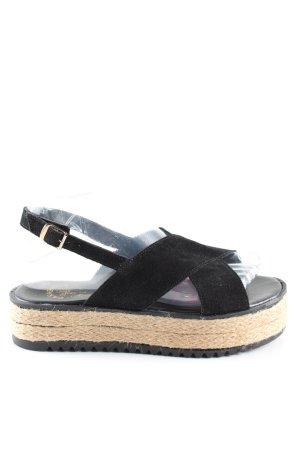 Sandalias con plataforma negro-crema look casual