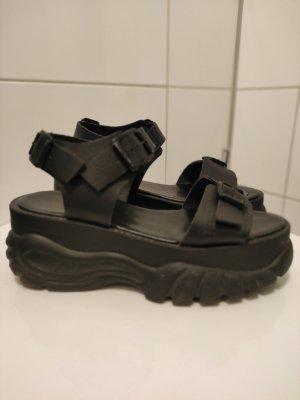 Sandales à plateforme noir tissu mixte