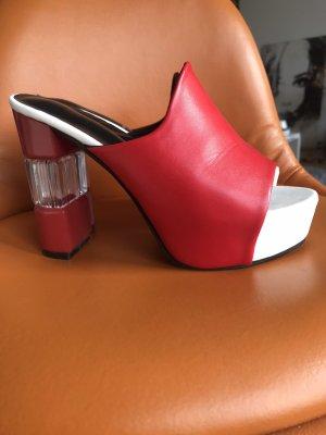 Sandalo con plateau bianco-rosso