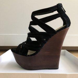 Just Fab Platform Sandals black-brown
