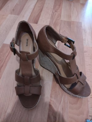 Pimkie Sandalias de tacón con plataforma marrón claro-beige claro