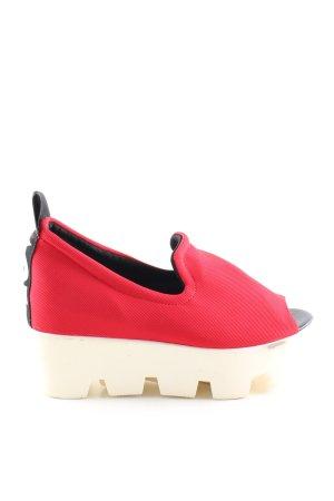 Sandalias con plataforma rojo-blanco puro letras impresas look casual