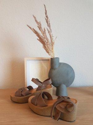 Plateau sandalen echt leder kork ease