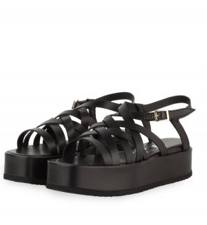 AGL Platform Sandals black leather