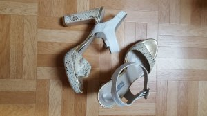 Platform Sandals white-gold-colored leather