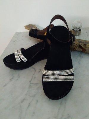 Cafènoir Sandały na platformie czarny-srebrny Skóra