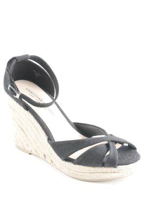 Plateau-Sandalen schwarz 50ies-Stil