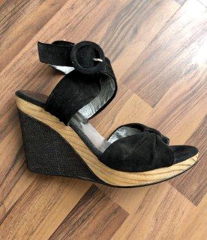 Sandalias con plataforma negro-marrón claro