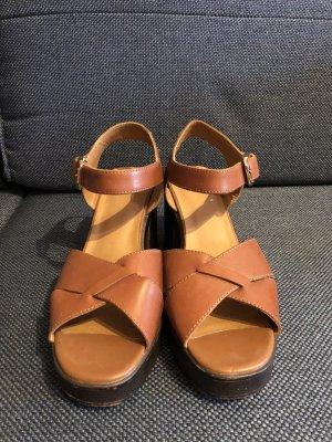 Vagabond Platform Sandals cognac-coloured leather