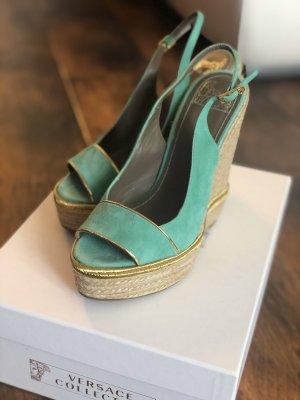 Versace Collection Plateauzool sandalen turkoois-goud
