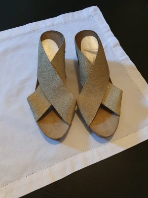 Sandales à plateforme doré-brun sable lycra
