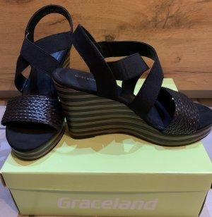 Graceland Plateauzool Sandalen met Hoge Hakken zwart-lichtbruin