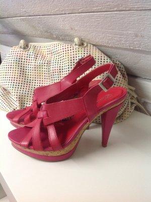 Sandales à talons hauts et plateforme rouge brique