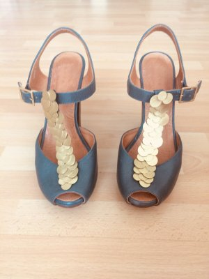 Chie Mihara Platform High-Heeled Sandal petrol-gold-colored leather