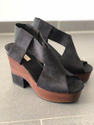 H&M Platform High-Heeled Sandal black-brown