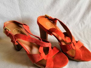 ASH Sandalias de tacón con plataforma albaricoque-naranja oscuro Cuero