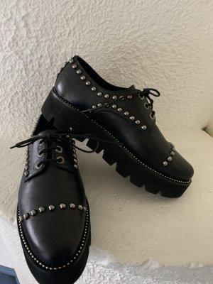 Angelo Bervicato Chaussures à lacets noir-argenté