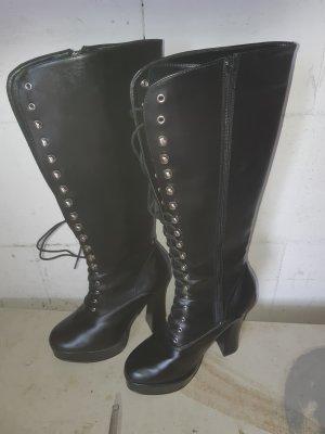 Gotyckie buty czarny Skóra