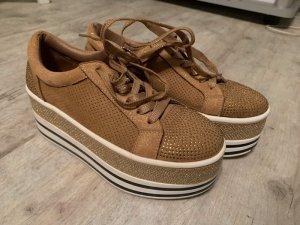 Plateau Sneaker - Beige/Glitter - Größe 36 - Federleicht!