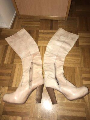 Botas con plataforma nude-crema