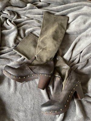 Botte à plateforme brun foncé-gris brun