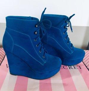 Wedge Booties blue
