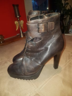 Bruno Premi Platform Booties bronze-colored-dark brown leather