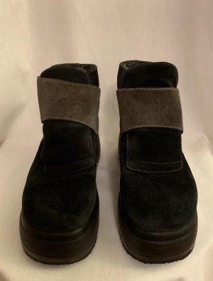 Plateau Veloursleder Wildleder Echtleder Ankle Boots Schuhe Stiefeletten Schwarz Braun 38