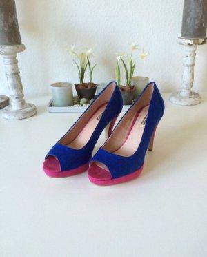 Plateaupumps * pink/royalblau * Größe 37 * von La Strada/Bianco