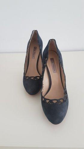 Zara Tacones con plataforma azul-azul oscuro Cuero