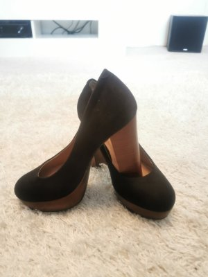 Catwalk Plateauzool pumps zwart-donkerbruin