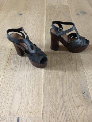 Zara Plateauzool sandalen zwart-donkerbruin